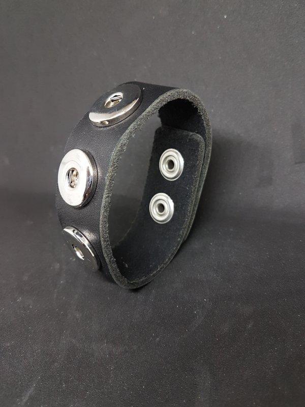 Armband Leder schwarz glatt